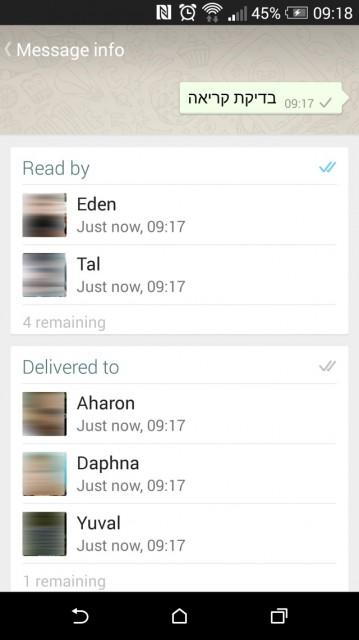 מעקב אחר הודעות בקבוצות Whatsapp