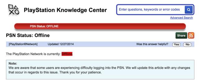 רשת ה-PSN של סוני (שבת, 27.12, 19:30)