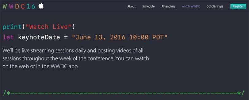 מתוך אתר WWDC 2016 של אפל