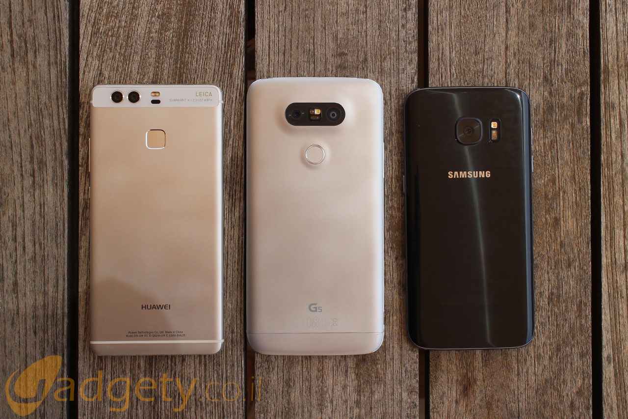 מימין לשמאל: Galaxy S7 מול LG G5 ו-Huawei P9