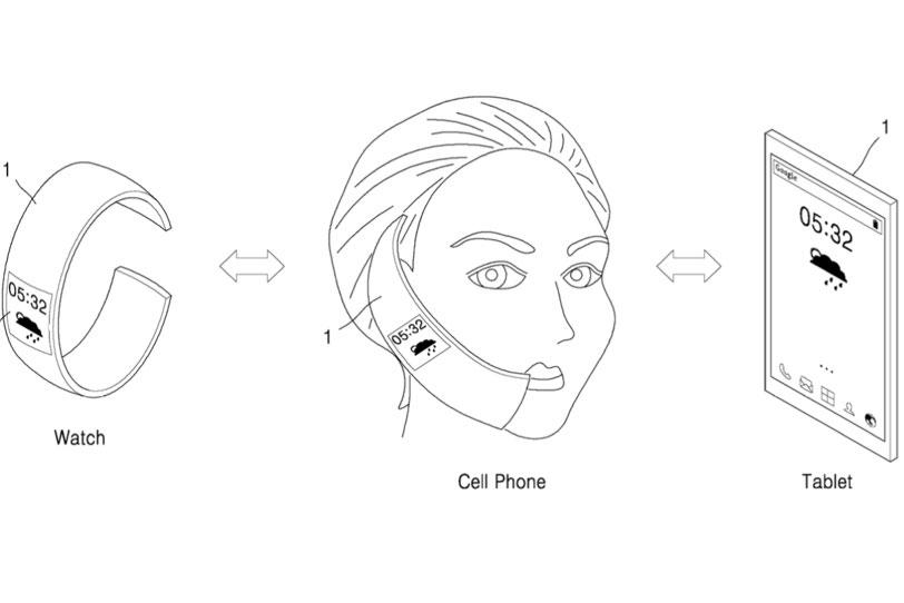 פטנט של סמסונג למוצר 3 ב-1 (שעון, טלפון וטאבלט)