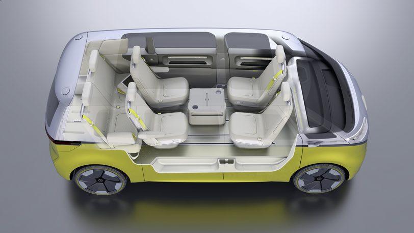 מבט מבפנים למכונית פולקסווגן I.D Buzz החשמלית