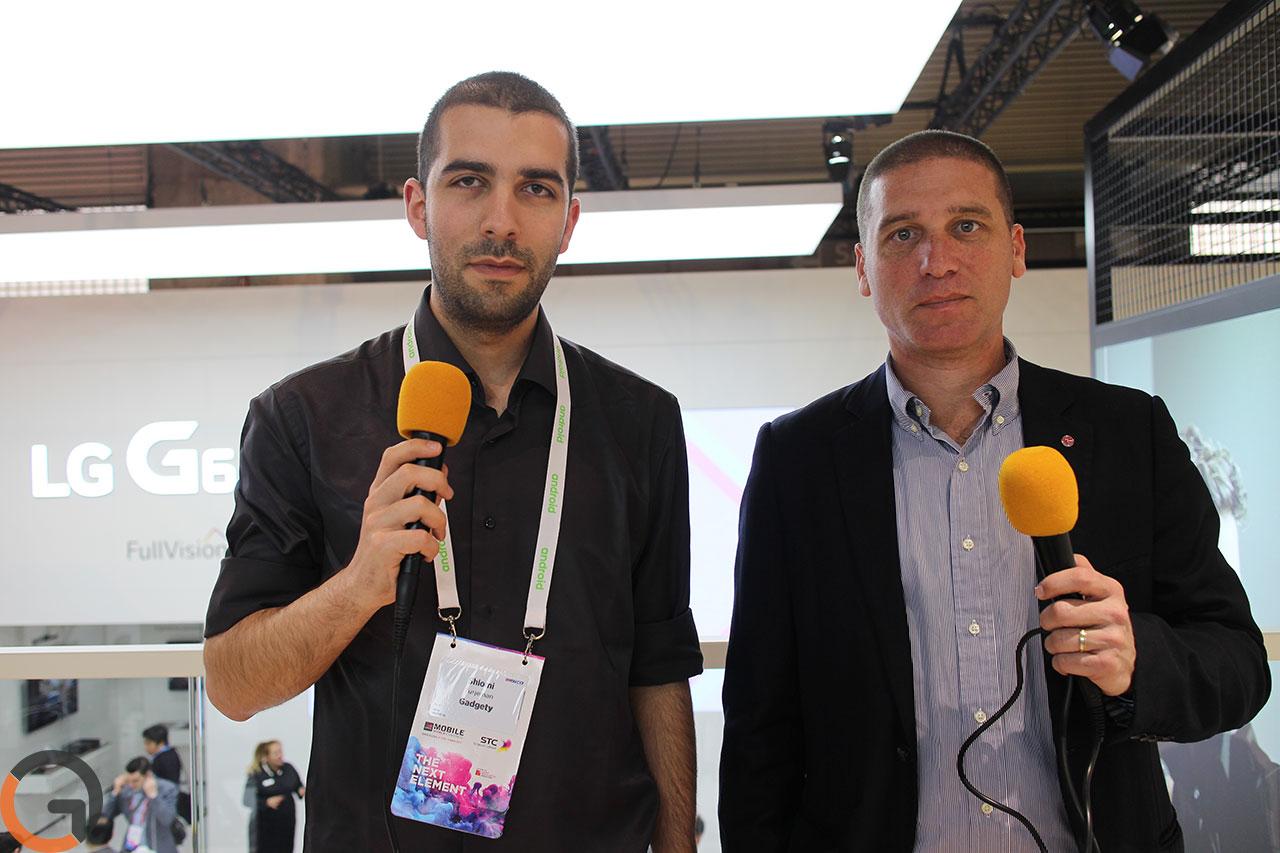 """זיו קוריצקי, סמנכ""""ל השיווק ב-LG ישראל ושלומי טורג'מן,עורך גאדג'טי (צילום: רונן מנדזיצקי)"""