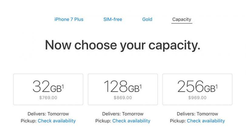 """מחירי האייפון 7 פלוס בארה""""ב (מקור: Apple.com)"""