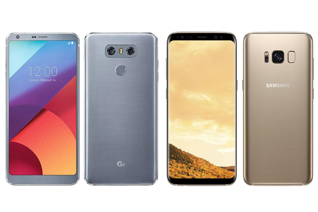 מימין לשמאל: Samsung Galaxy S8 ו-LG G6