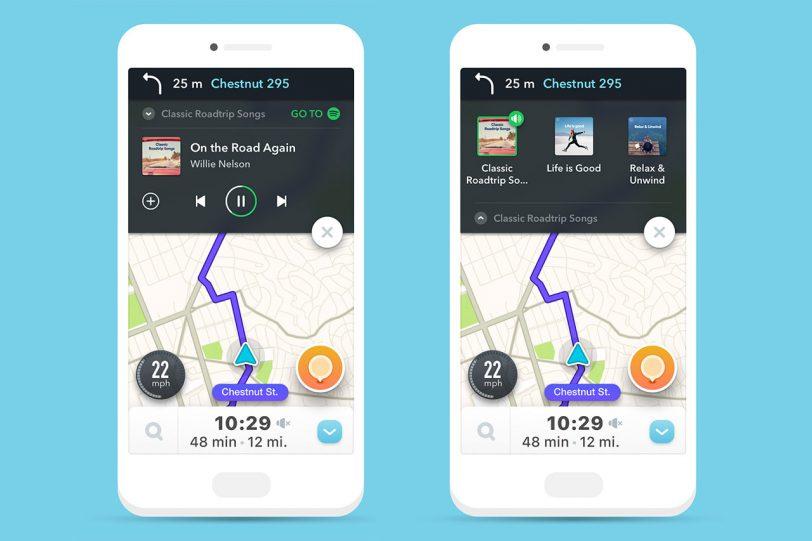 האזנה למוסיקה מספוטיפיי בתוך אפליקציית Waze