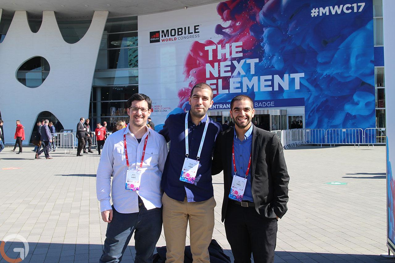 אלי כהן, שלומי טורג'מן ורונן מנדזיצקי בתערוכת MWC 2017 בברצלונה