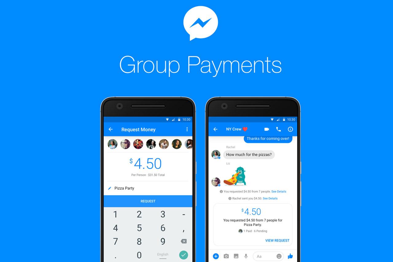 הדגמת תשלומים בקבוצות באפליקציית מסנג'ר של פייסבוק
