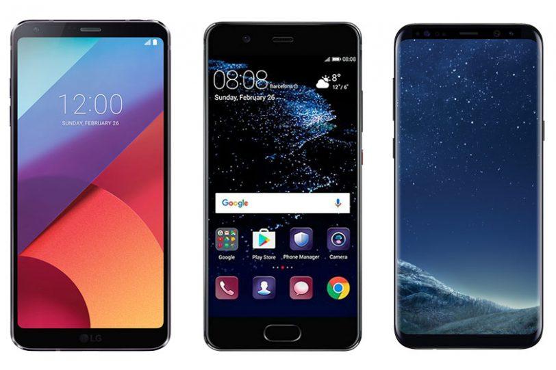 מימין לשמאל: גלקסי S8, וואווי P10 ו-LG G6