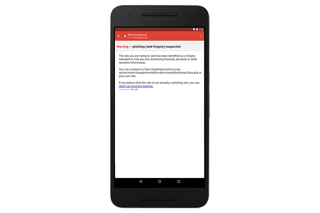 התראת פישינג באפליקציית ג'ימייל (תמונה: Google)