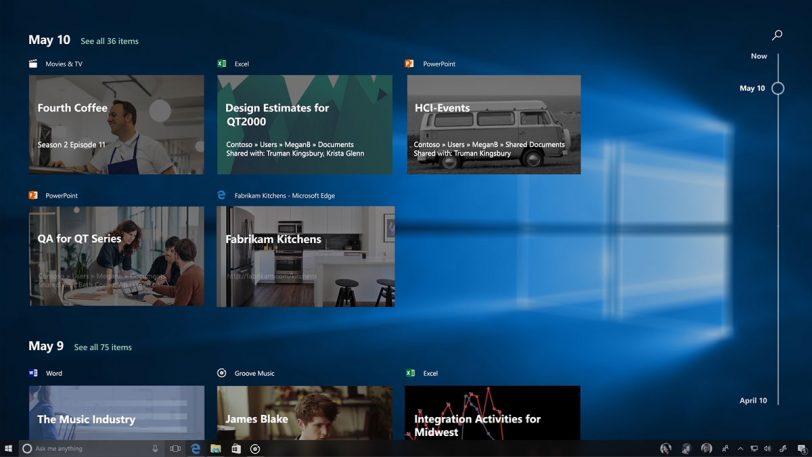 חלון Timeline החדש ב-Windows 10 Fall Creators Update