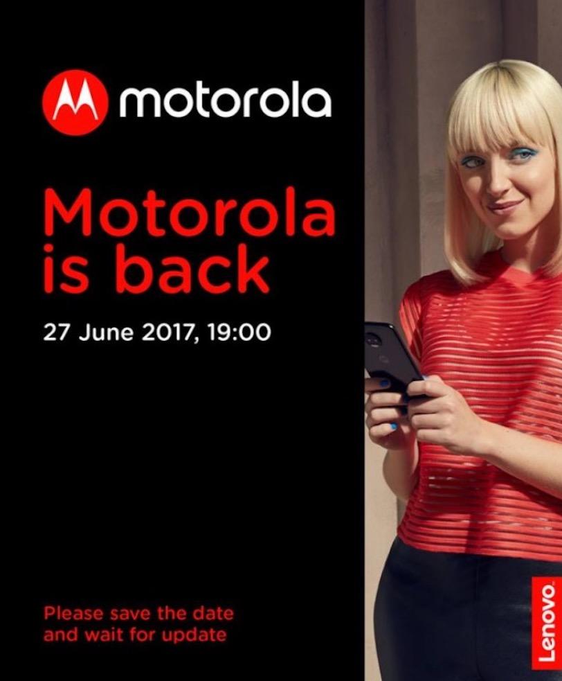 הזמנה לאירוע הכרזה שתערוך מוטורולה ב-27 ביוני