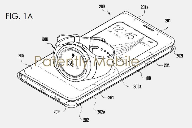 כך רוצה סמסונג שתטעינו את השעון החכם דרך הסמארטפון (מקור: Patently Mobile)