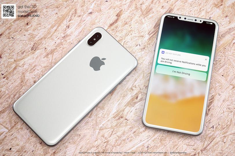 כך עשוי להיראות אייפון 8 בצבע לבן (מקור: Martin Hajek)