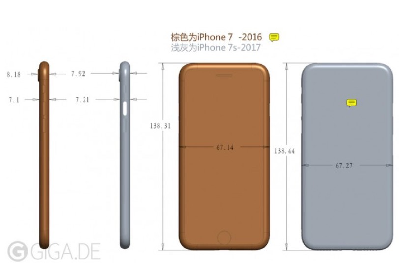 מימדיו המודלפים של iPhone 7S