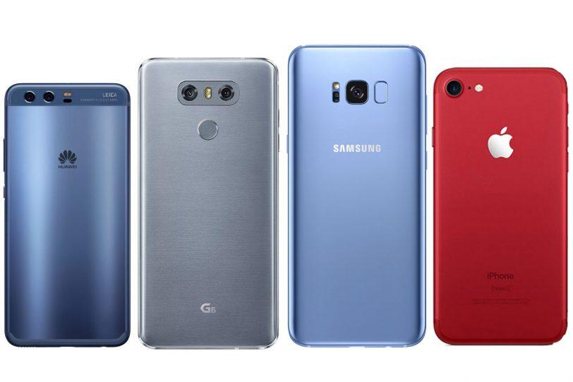 מימין לשמאל: אייפון 7, גלקסי S8, ה-LG G6 ו-Huawei P10
