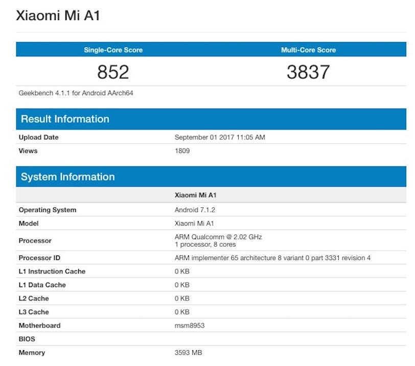 מבחן הביצועים שעבר לכאורה ה-Xiaomi Mi A1 (מקור: Geekbench)