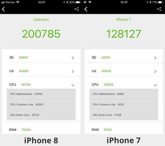 מבחן AnTuTu: אייפון 8 מול אייפון 7