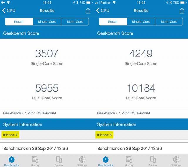 מבחן GeekBench: אייפון 8 מול אייפון 7