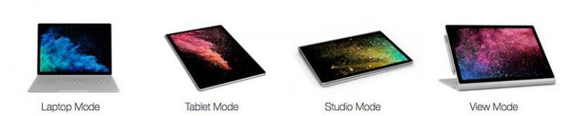 מצבי שימוש Surface Book 2