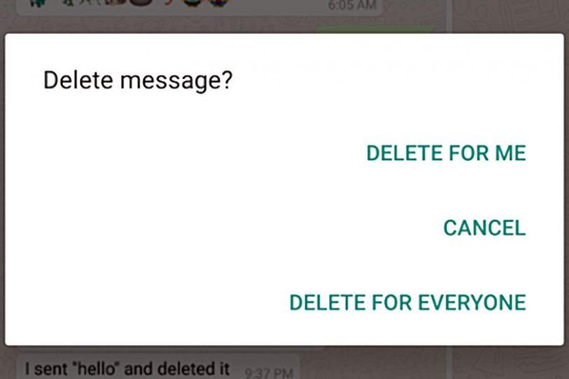 אפשרויות מחיקת הודעה חדשות בוואטסאפ