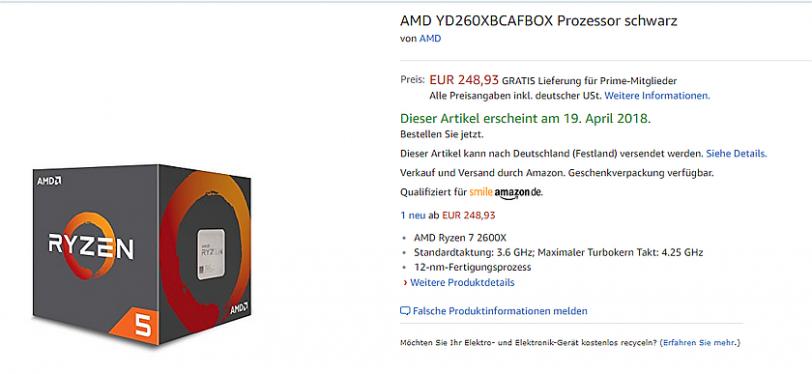 עמוד מכירה Ryzen 2600 באמזון גרמניה (מקור 3DCenter)