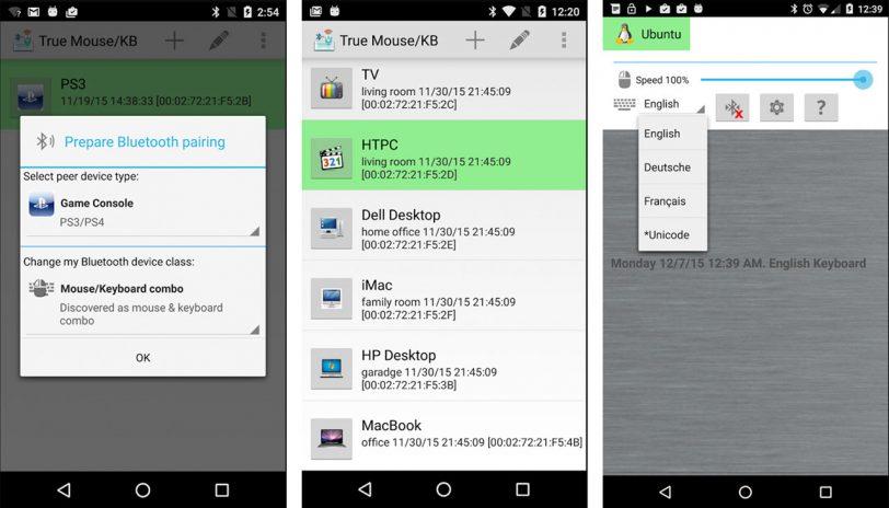 דוגמה לשימוש ב-Bluetooth HID (מקור: XDA-Developers)