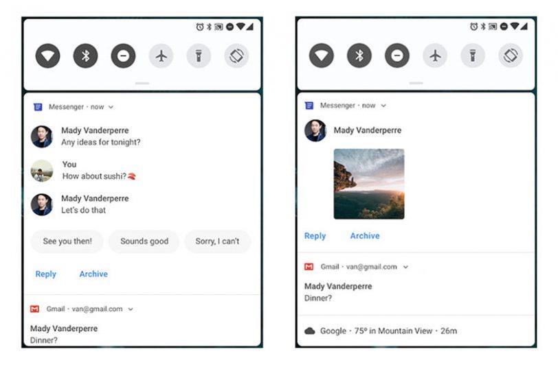 וילון ההתראות ונוטיפיקציות ב-Android P (תמונה: Google)