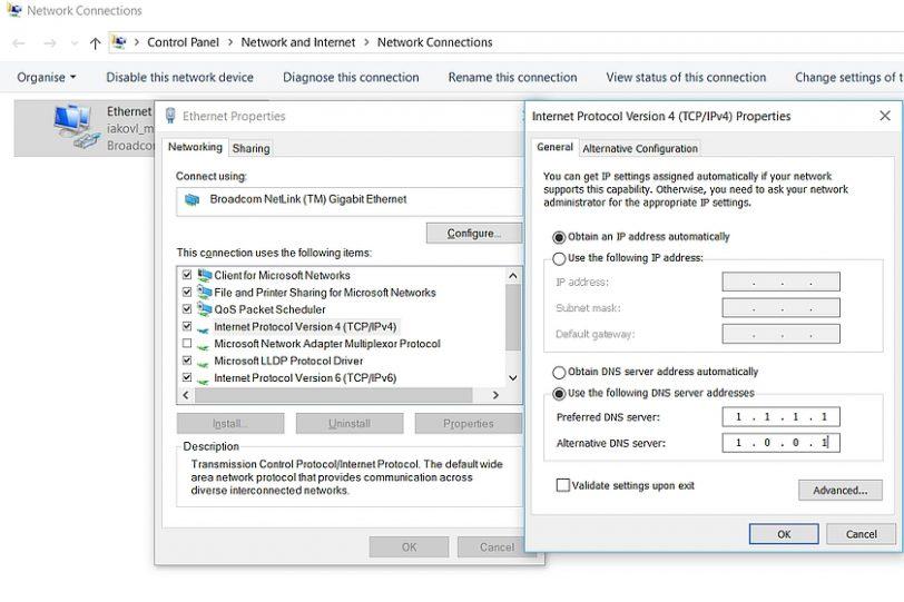 הגדרות DNS בווינדוס 10