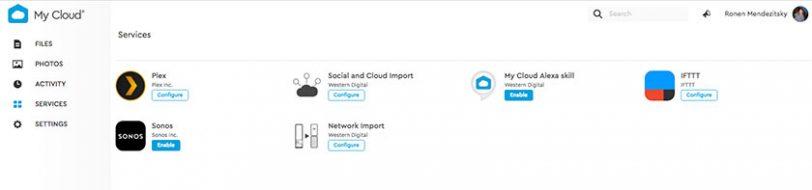תמונת מסך שירותי My Cloud Home