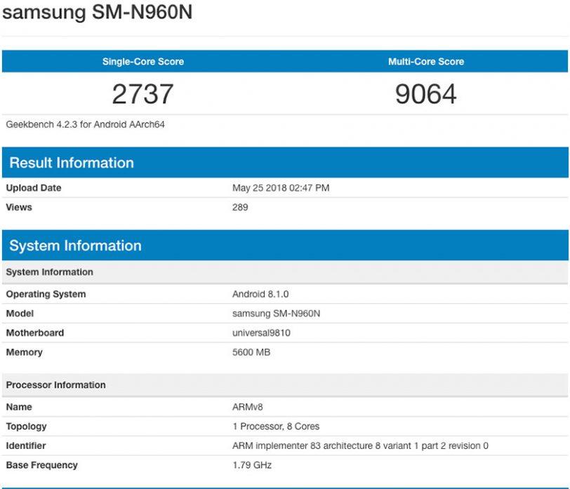 Galaxy Note 9 במבחן ביצועים (מקור: Geekbench)