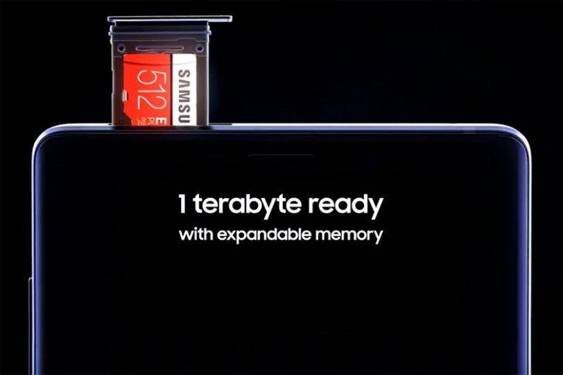 כרטיס זיכרון Samsung MicroSD 512GB ב-Galaxy Note 9 (הדלפה)