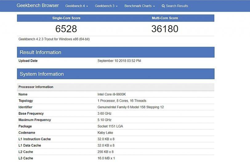 תוצאות מבחן geekbench למעבד Core i9 9900K