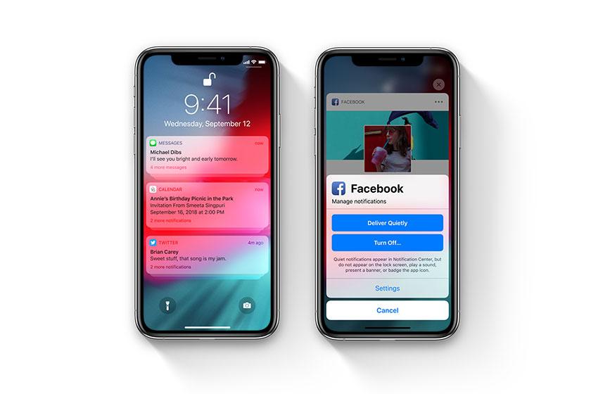 מסכי נוטיפיקציות ב-iOS 12 (תמונה: Apple)
