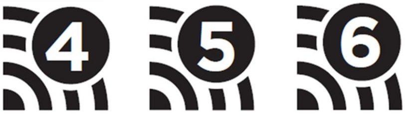 סימוני תקני WiFi 4 5 6