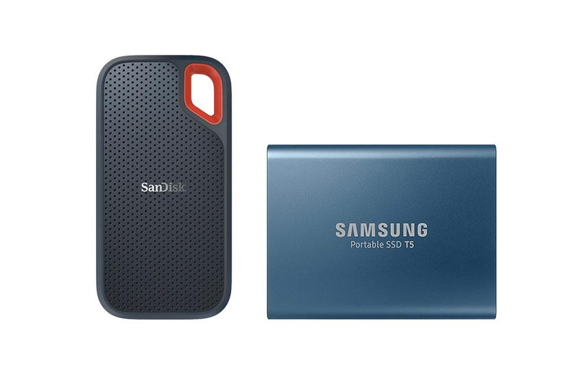 כונני SSD סמסונג T5 ו-Sandisk Extreme Portable (תמונות: SanDisk / Samsung)