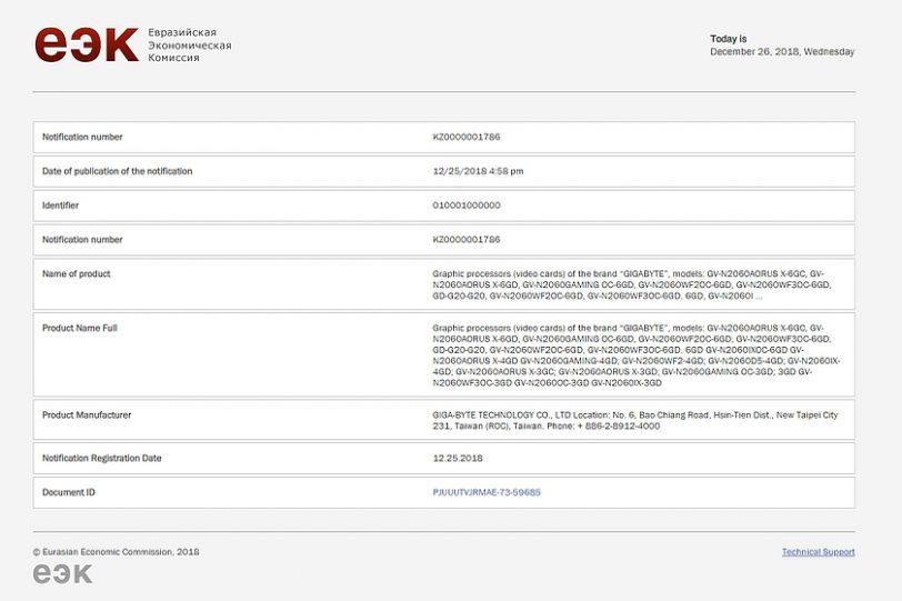 אישור EEC ל-RTX 2060 מבית GIGABYTE (מקור EEC)