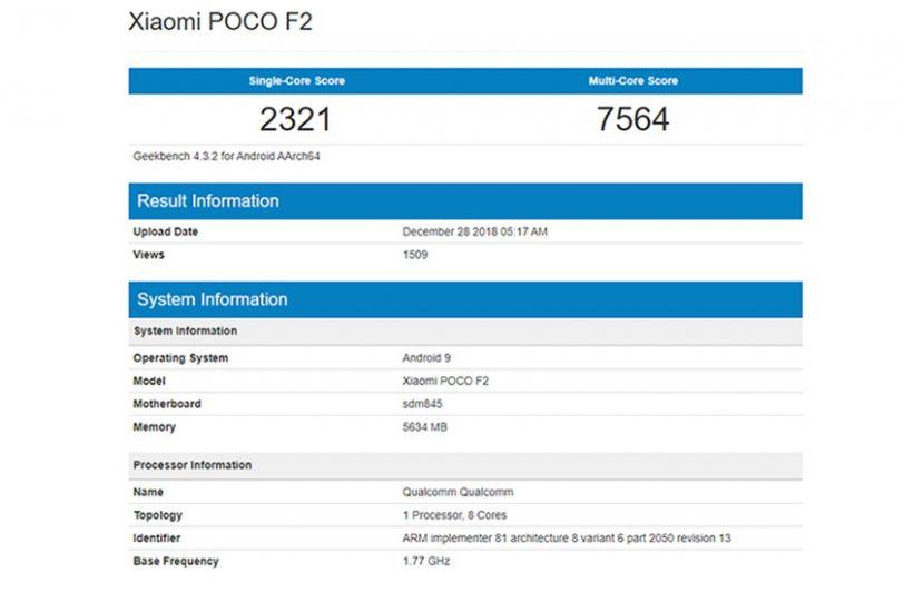 מבחן הביצועים של מכשיר ה-Pocophone F2 (תמונה: Geekbench)