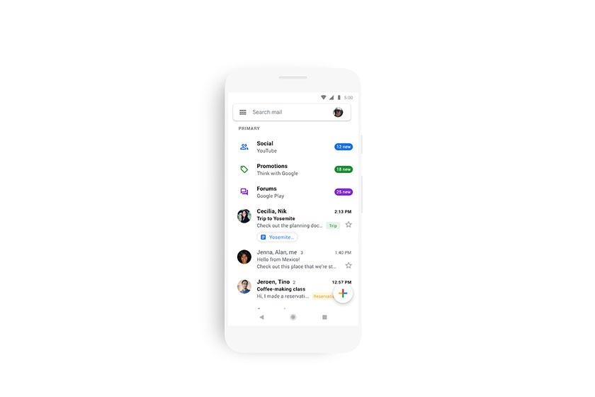 עיצובה החדש של אפליקציית ה-Gmail באנדרואיד ואייפון (תמונה: Google)