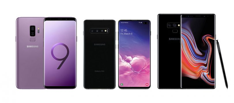 מימין לשמאל: Note 9 מול S10 Plus מול S9 Plus (תמונות: Samsung)
