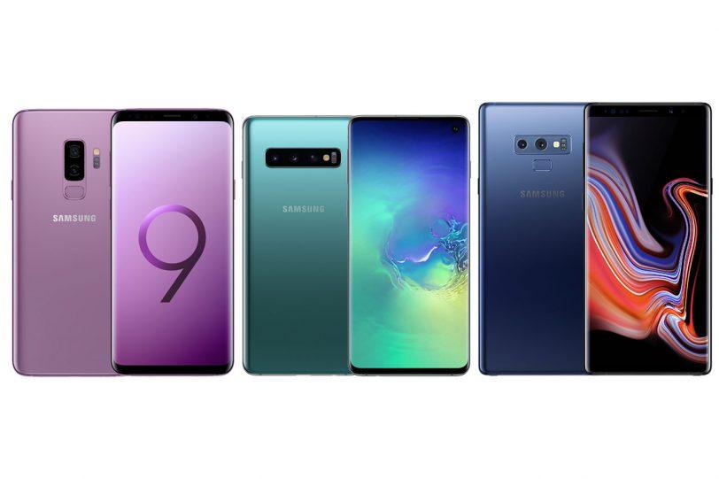 מימין לשמאל: גלקסי נוט 9, גלקסי S10 פלוס וגלקסי S9 פלוס (תמונות: Samsung)