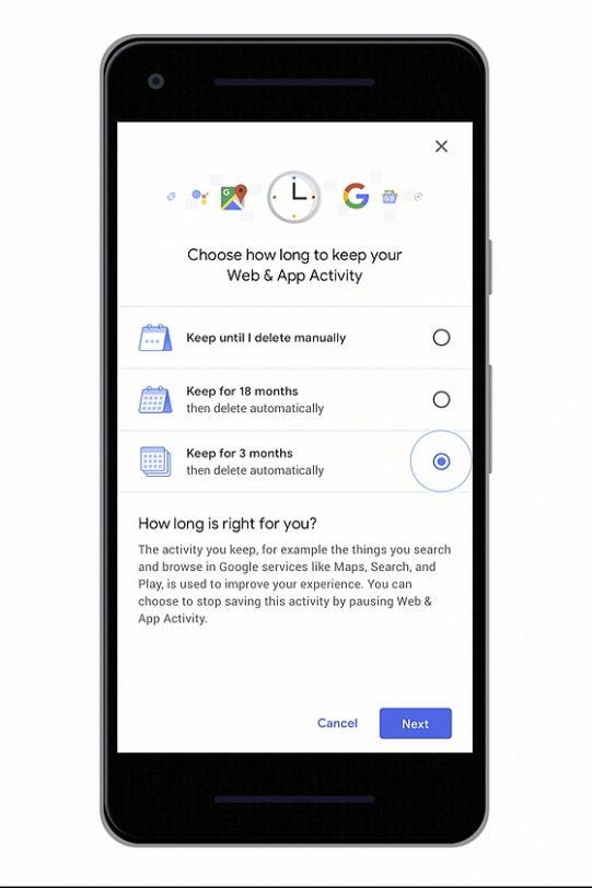 אפשרות מחיקה אוטומטית כל 3 או 18 חודש (מקור גוגל)