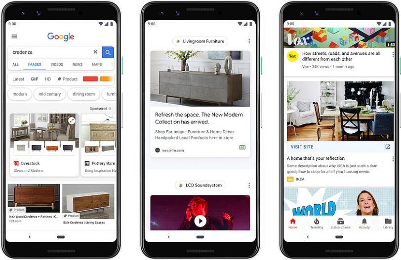 פרסומות בתוצאות חיפוש ואפליקציית גוגל (מקור גוגל)
