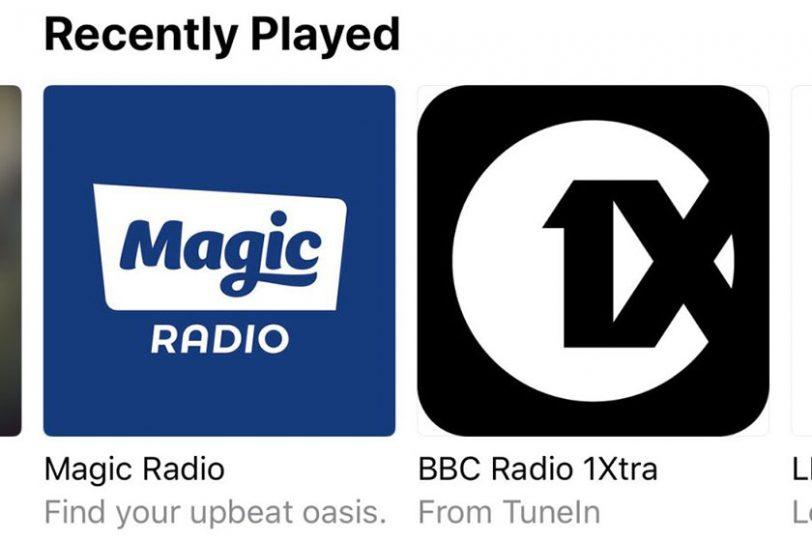 תחנות רדיו שהושמעו לאחרונה ב-iOS 13 (תמונה: 9to5mac)