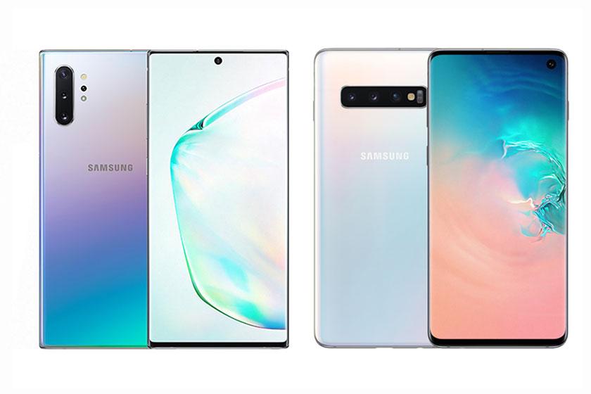 Samsung Galaxy S10 (מימין) ו-Galaxy Note 10 (משמאל)