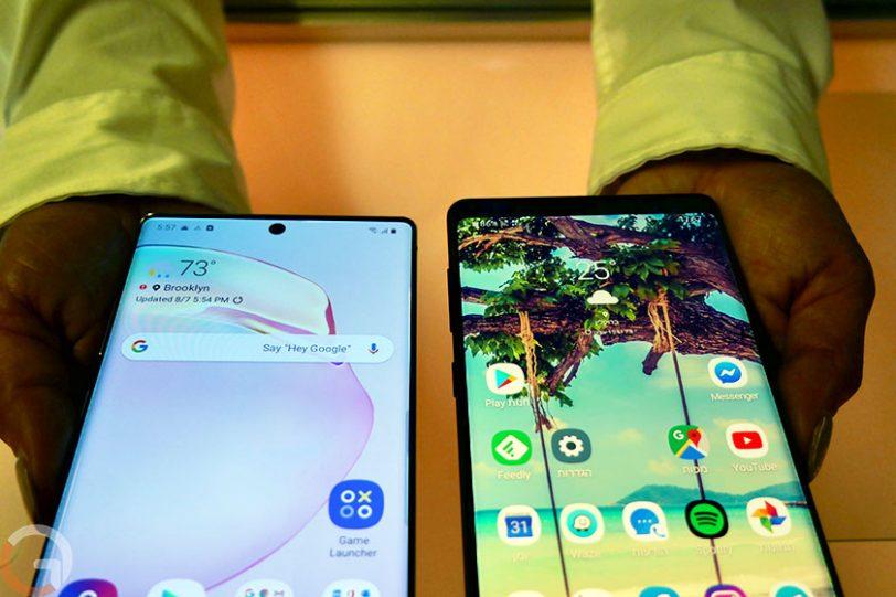 Galaxy Note 9 מול Note 10 (צילום: רונן מנדזיצקי, גאדג'טי)
