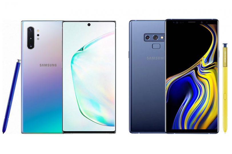 Samsung Galaxy Note 9 (מימין) ו-Galaxy Note 10 (משמאל)