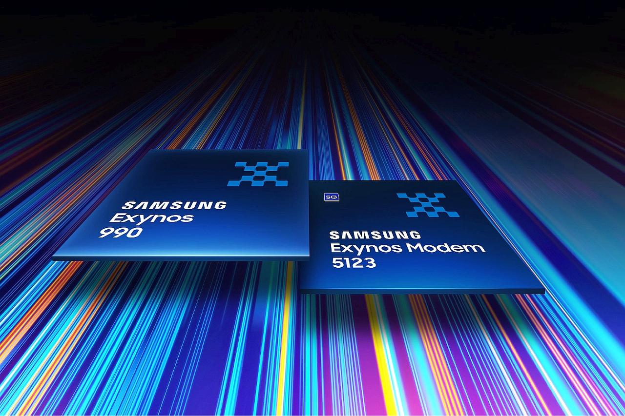 מערכת שבבים Exynos 990 ומודם Exynos 5123 (מקור Samsung)