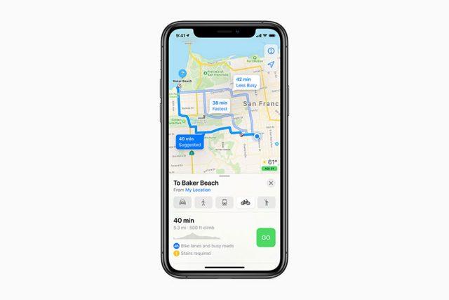 שביל אופניים ב-Apple Maps (תמונה: אפל)
