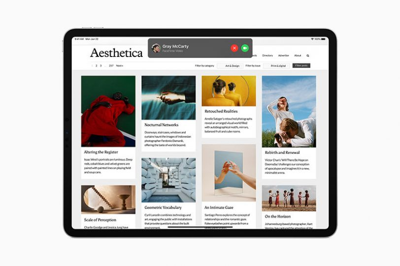 חלון שיחות נכנסות ב-iPadOS 14 (תמונה: Apple)